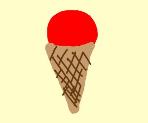 Red ice cream in cone