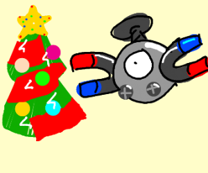 Magnemite decorating a Christmas tree