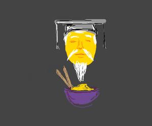 Eating a noodle salad