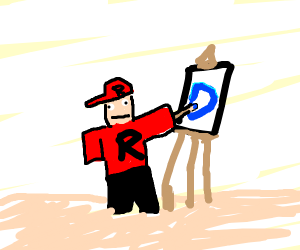 I think it's a rolbox guy drawing in a blue d