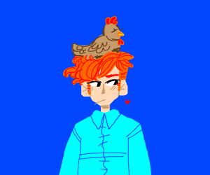 Boy with chicken on his head
