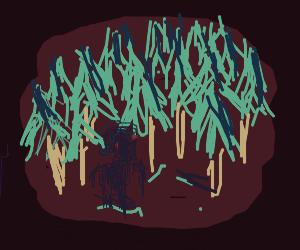 Dark lady in a creepy forest (horror)