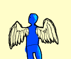 blue person with wings