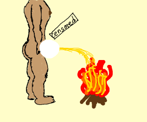 peeing on fire
