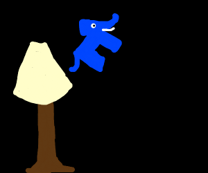 Blue elephant comes out of lamp