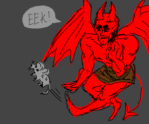 the devil kicking a mouse