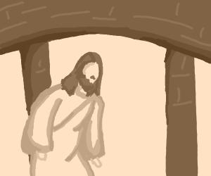 Lonely Jesus walks under bridge