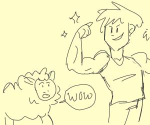 sheep saying wow to buff guy
