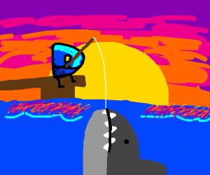 drawception D fishing but finds shark instead