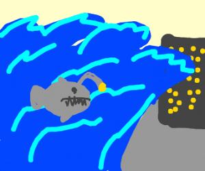 angler fish in a tsunami