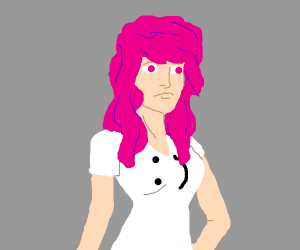 lovely pink haired girl in a :) t-shirt