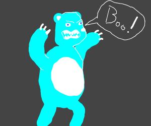 angry ice bear saying boo