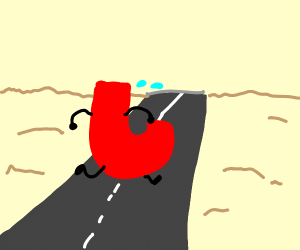 The letter J runs down a road