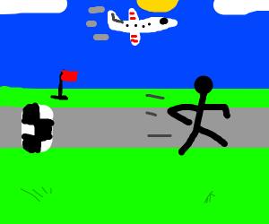 Man tries to outrun airplane