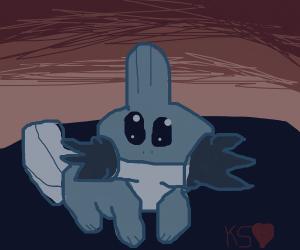 Mudkip staring at a sunset