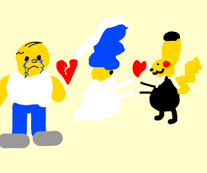 Marge divorces Homer and marries Pikachu