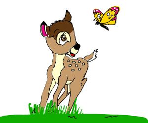 Bambi and a butterfly