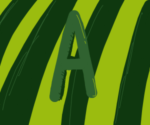 The letter A with a watermelon skin as the bg