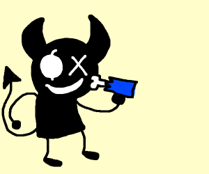 Smol demon steals arm without hand.