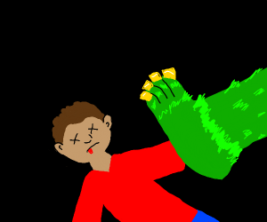MONSTER KILLING SOMEBODY WITH FEET