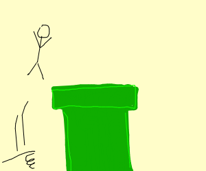 Stickman jumping over a Green Pipe (Mario)
