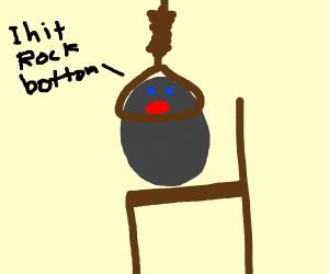 Rock hanging itself