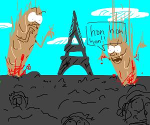 Giant baguettes invade Paris