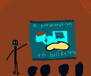a presentation of a bulldozer
