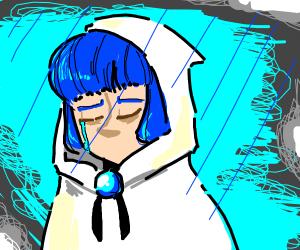 Blue haired human w/ white robe cries in rain