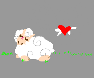 Cute sheep sitting by a flying heart