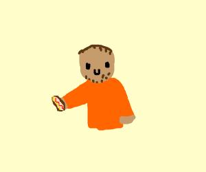 Weird man holding a hotdog