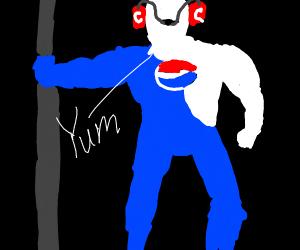 Pepsi man drinking coke