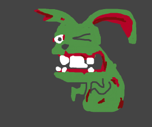 Zombie rabbit winking