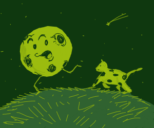 Moon running from cow
