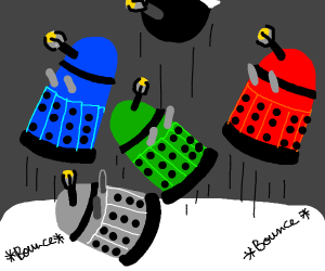 Five little Daleks jumping on the bed.
