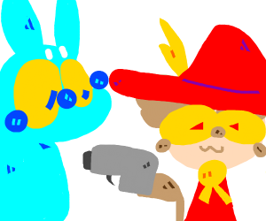 Snuffkin from moomin but red/blue and has gun