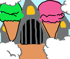 ice cream castle in the clouds