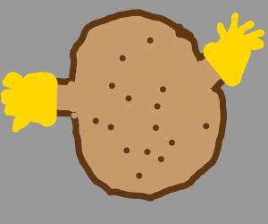 Potato wearing Gloves