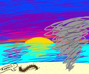 tornado on beach with centipede