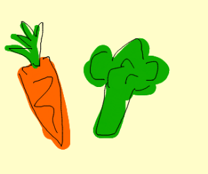 A carrot and broccoli