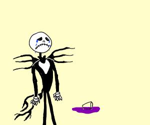 Jack skeleton spilling grape juice
