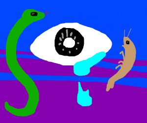 All Seeing Eye crying, snake and shrimp