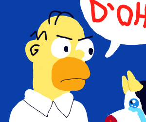 Homer angry because Cow little