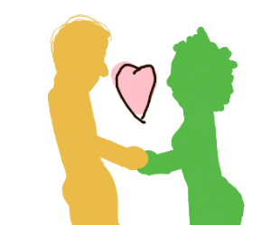 Yellow person Loves Green person