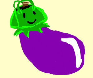 Eggplant with purse for a head