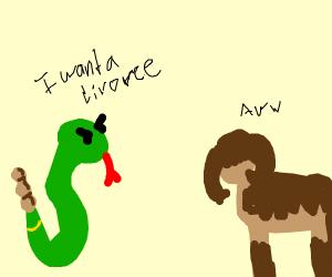 Rattlesnake divorcing Ox