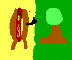 Hotdog is happy with nature.