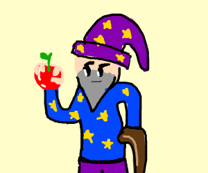 Wizard with apple