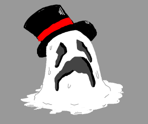 demonic ghost w/ tophat is melting