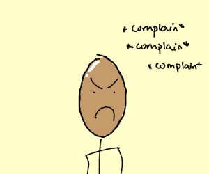 Angry bald man complaining about something